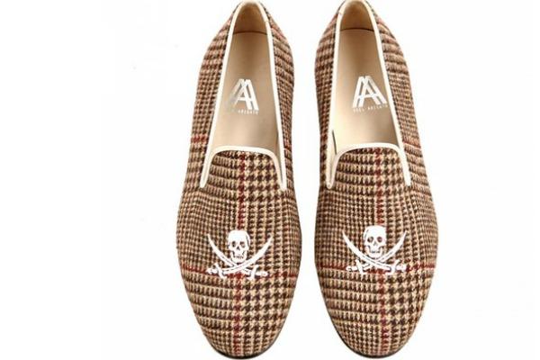 Axel Arigato Tweed Skull Slippers